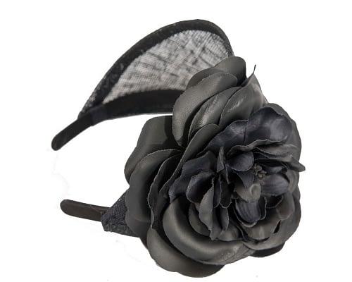 Fascinators Online - Black leather flower headband fascinator by Max Alexander 3