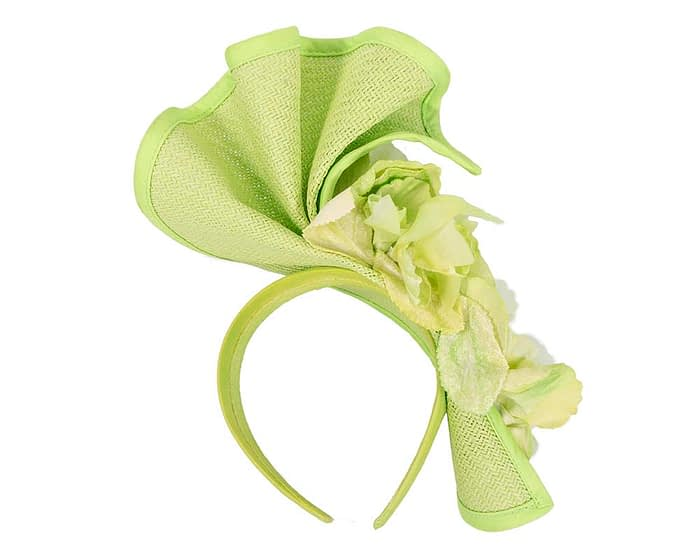Fascinators Online - Bespoke large lime green flower fascinator by Fillies Collection 4