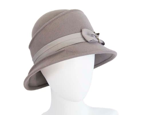 Fascinators Online - Grey ladies felt bucket hat 13