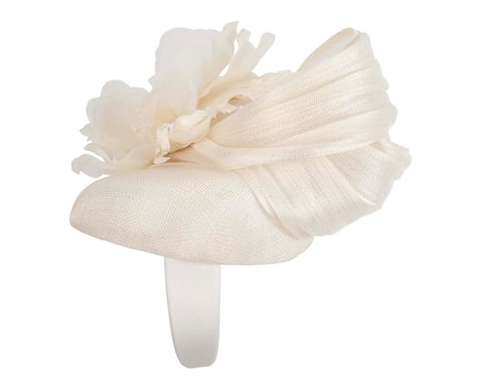 Fascinators Online - Cream pillbox fascinator with large flower by Fillies Collection 3