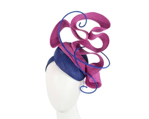 Fascinators Online - Designers royal blue & fuchsia racing fascinator by Fillies Collection 1