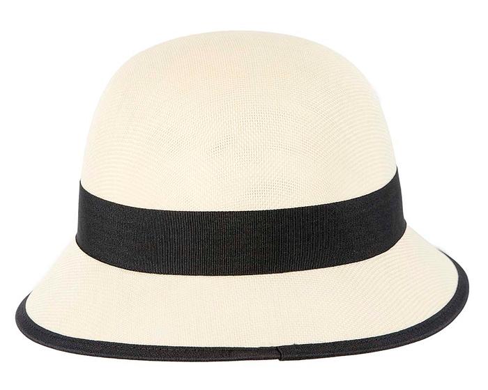 Fascinators Online - Cream and Black spring racing bucket hat by Max Alexander 5