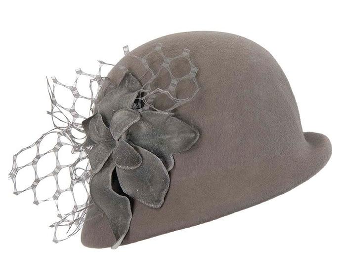 Fascinators Online - Grey felt bucket hat from Fillies Collection 2