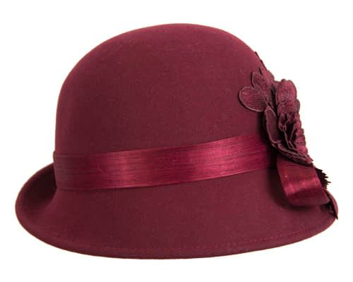 Fascinators Online - Exclusive burgundy felt cloche hat with lace by Fillies Collection 4