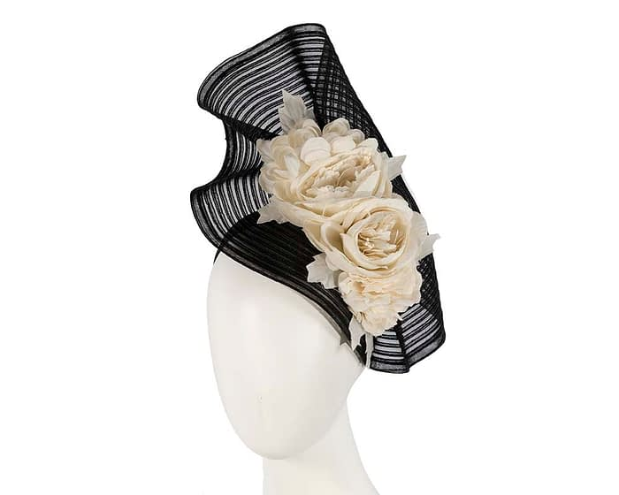 Fascinators Online - Large black racing fascinator with cream flowers by Fillies Collection 1