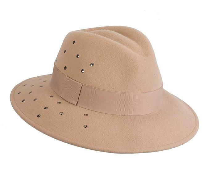 Fascinators Online - Wide brim beige felt fedora hat by Max Alexander 2