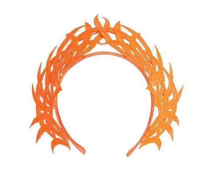 Fascinators Online - Orange lace crown 2