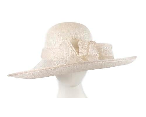 Fascinators Online - Wide brim off-white sinamay racing hat by Max Alexander 5