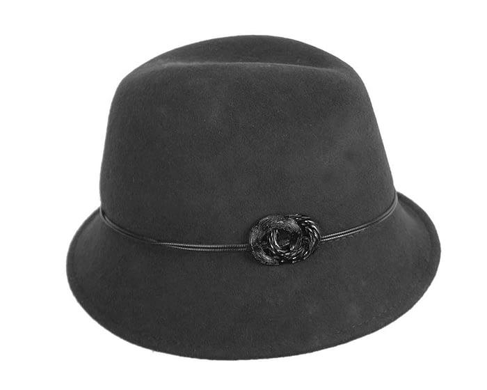 Fascinators Online - Black felt trilby hat by Max Alexander 2