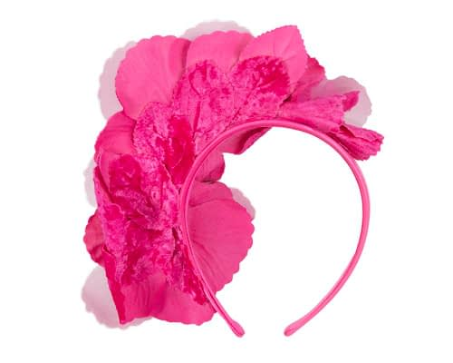 Fascinators Online - Bright fuchsia flowers on the headband 4