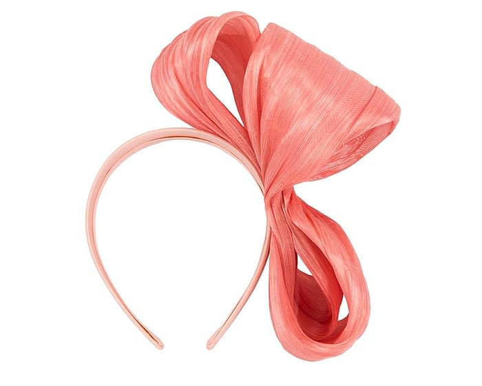 Fascinators Online - Coral bow racing fascinator by Fillies Collection 4