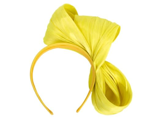 Fascinators Online - Yellow bow racing fascinator by Fillies Collection 4