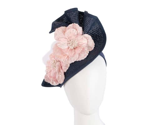 Fascinators Online - Bespoke large navy & cream flower fascinator by Fillies Collection 1