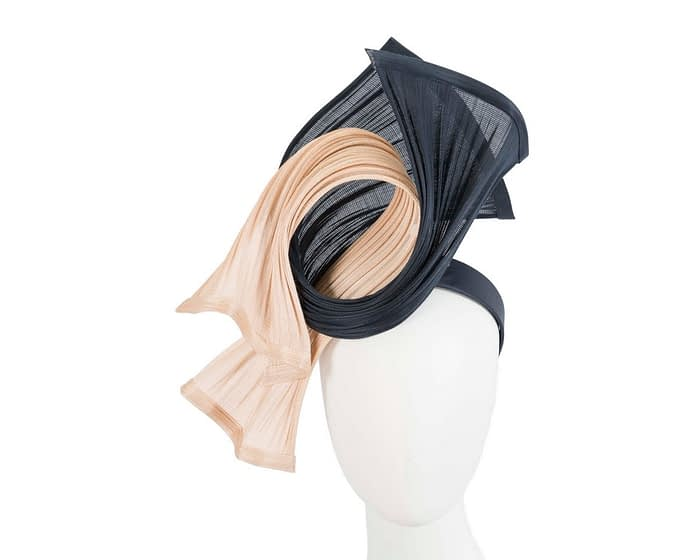Fascinators Online - Twisted nude & navy jinsin racing fascinator by Fillies Collection 1