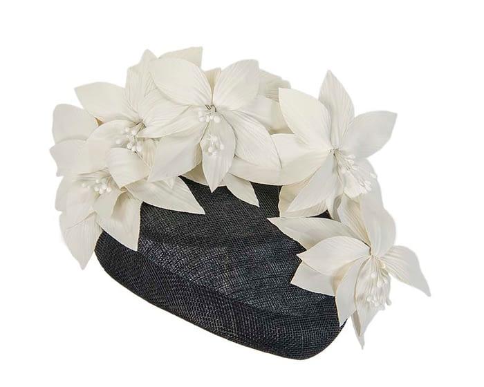 Fascinators Online - Black & cream leather flower pillbox fascinator by Fillies Collection 2