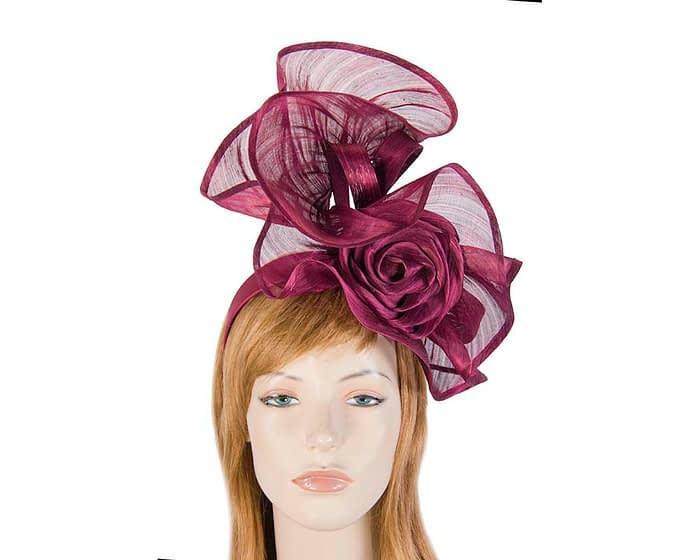 Fascinators Online - Wine sculptured silk abaca fascinator by Fillies Collection 1