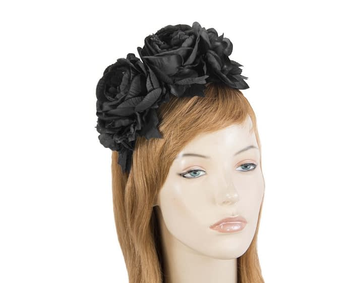 Fascinators Online - Black flower headband fascinator by Max Alexander 1