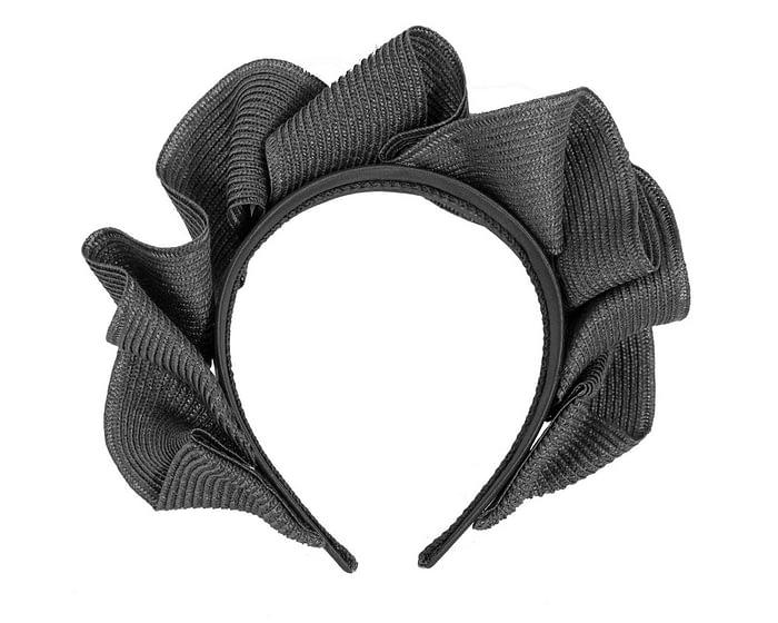 Fascinators Online - Black PU leather crown fascinator by Max Alexander 4