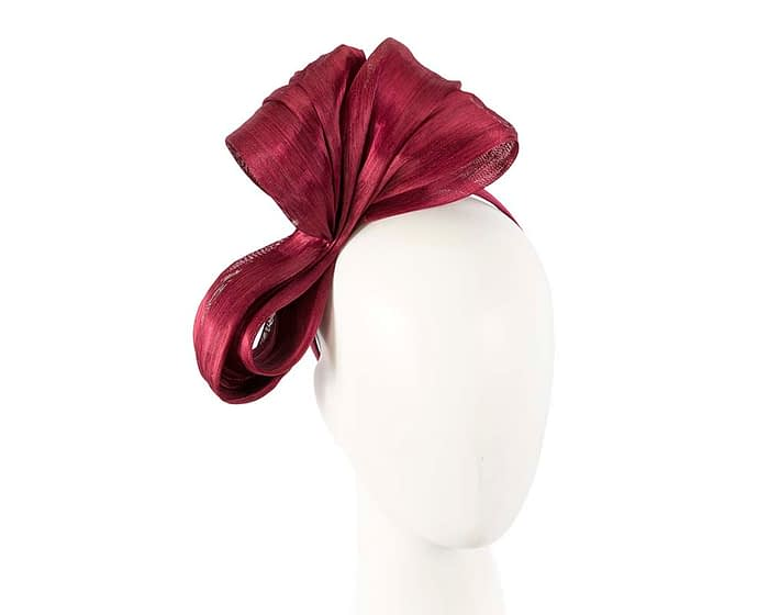 Fascinators Online - Burgundy wine bow racing fascinator by Fillies Collection 1