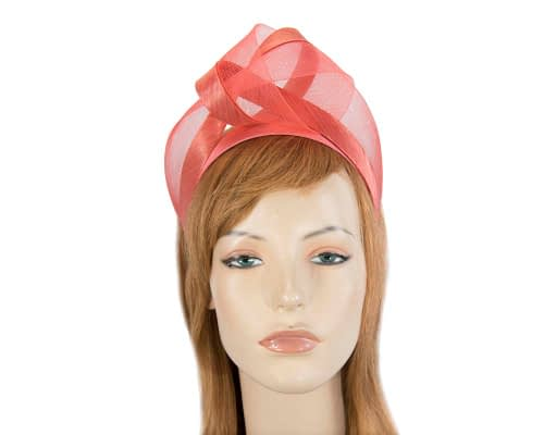 Fascinators Online - Coral turban headband by Fillies Collection 1