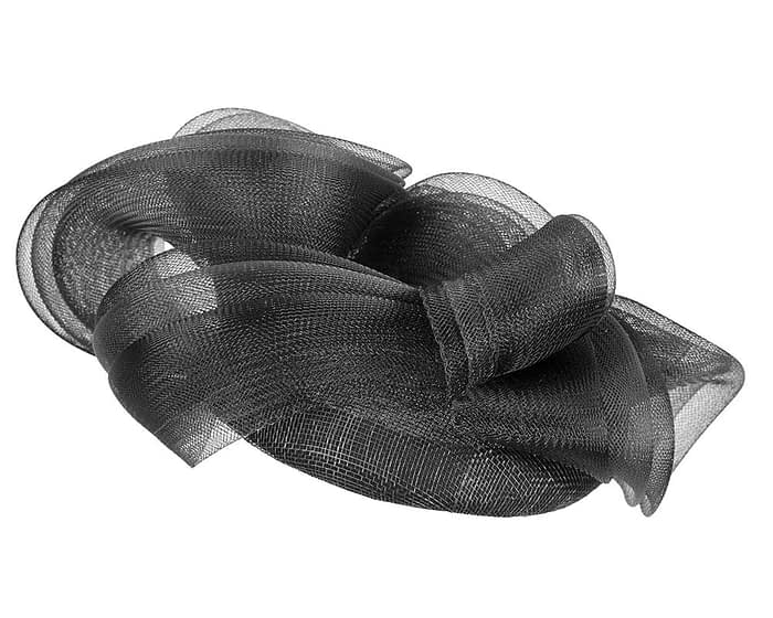 Fascinators Online - Black pillbox racing fascinator with wave by Fillies Collection 6