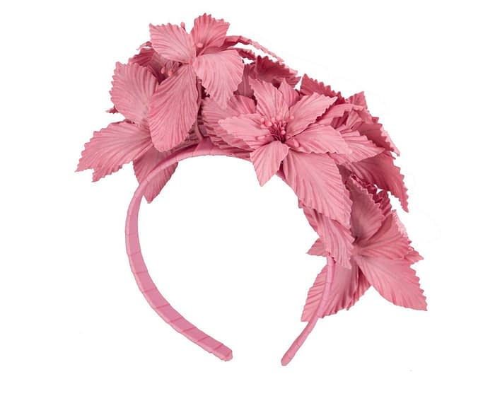 Fascinators Online - Dusty Pink sculptured handcrafted flower fascinator by Fillies Collection 4
