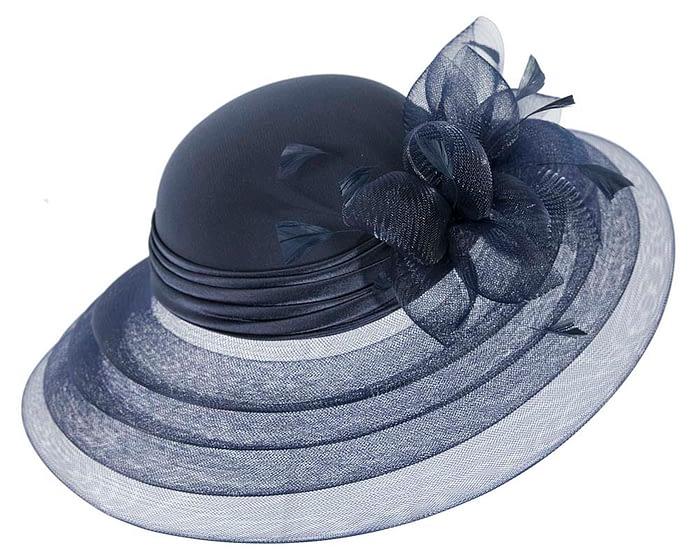 Fascinators Online - Navy custom made Mother of the Bride hat 5
