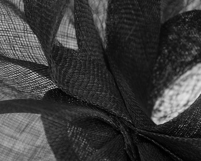 Fascinators Online - Large black sinamay fascinator by Max Alexander 3