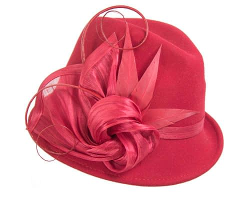 Fascinators Online - Exclusive red felt trilby hat by Fillies Collection 2