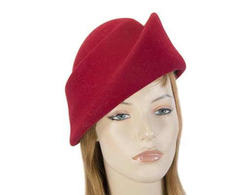 Fascinators Online - Designers red felt hat 64
