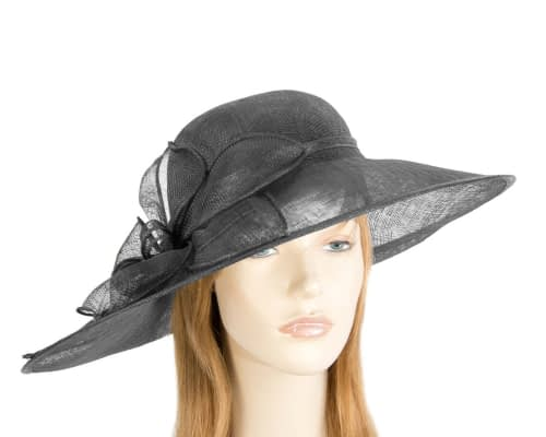 Fascinators Online - Large black fashion hat by Max Alexander 55