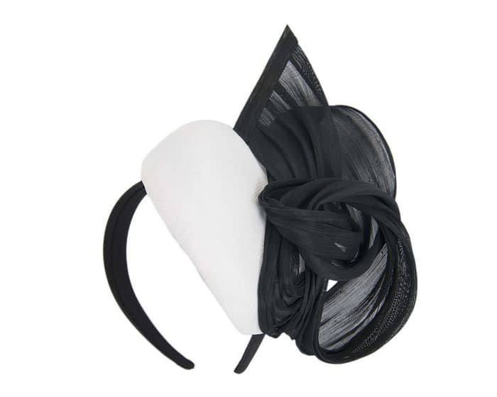 Fascinators Online - White & black pillbox fascinator with silk bow by Fillies Collection 2