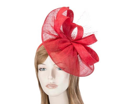 Fascinators Online - Large red sinamay fascinator by Max Alexander 1