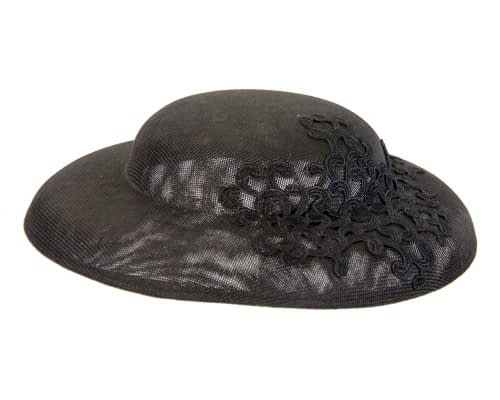Fascinators Online - Black fashion boater hat with lace by Max Alexander 3