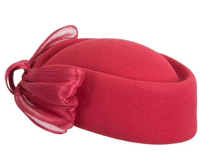 Fascinators Online - Red felt ladies fashion beret hat with bow by Fillies Collection 7