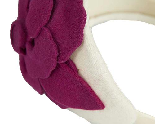Fascinators Online - Wide headband cream winter fascinator with fuchsia flower by Max Alexander 5