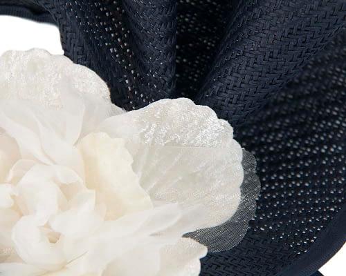 Fascinators Online - Bespoke large navy & cream flower fascinator by Fillies Collection 3