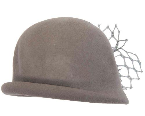 Fascinators Online - Grey felt bucket hat from Fillies Collection 3