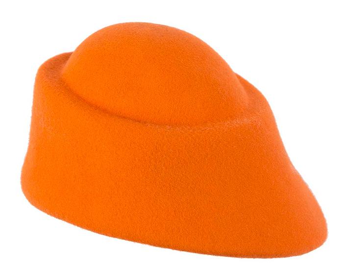 Fascinators Online - Designers orange felt hat 3