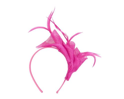 Fascinators Online - Petite fuchsia sinamay fascinator with feathers by Max Alexander 2