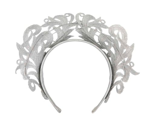 Fascinators Online - Silver lace crown racing fascinator by Max Alexander 4