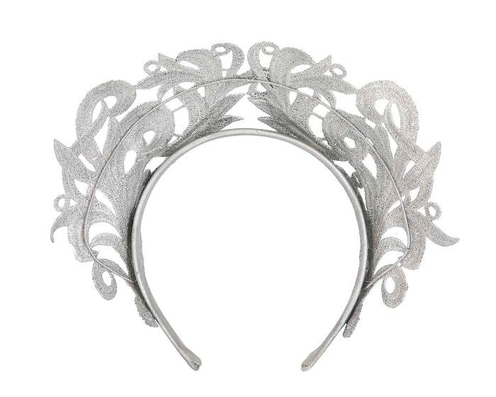 Fascinators Online - Silver lace crown racing fascinator by Max Alexander 4