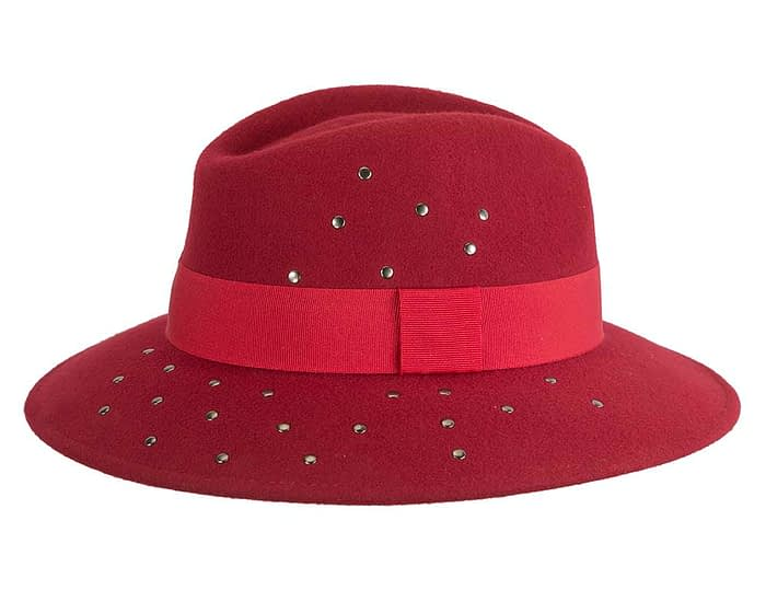 Fascinators Online - Wide brim dark red felt fedora hat by Max Alexander 4