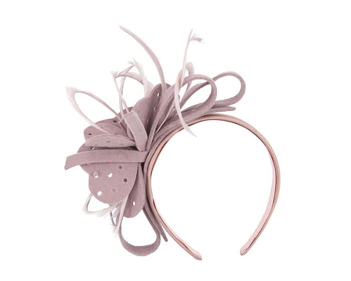 Fascinators Online - Dusty Pink felt flower and feathers winter fascinator 4