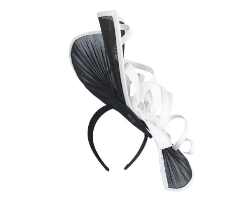Fascinators Online - Large black & white jinsin racing fascinator by Fillies Collection 3