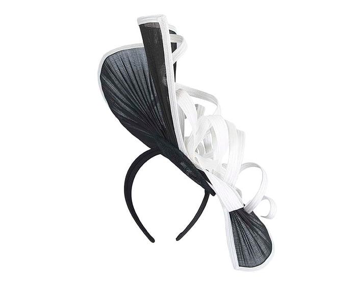 Fascinators Online - Large black & white jinsin racing fascinator by Fillies Collection 3