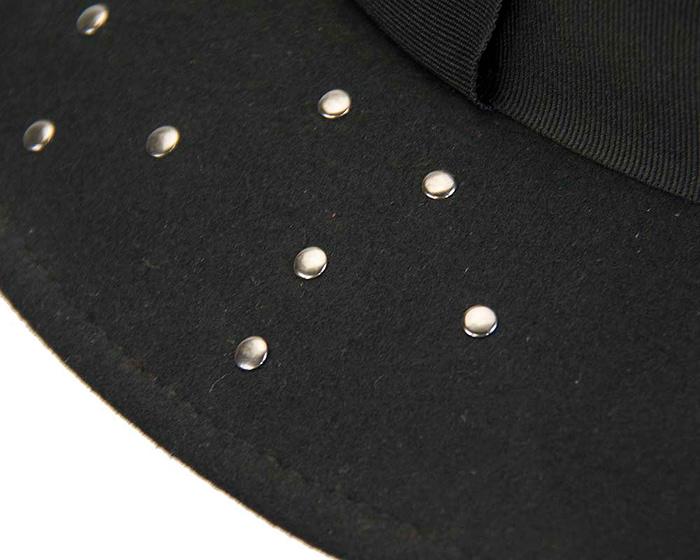 Fascinators Online - Wide brim black felt fedora hat by Max Alexander 5