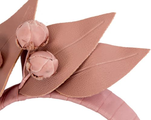 Fascinators Online - Taupe leather racing fascinator by Max Alexander 3