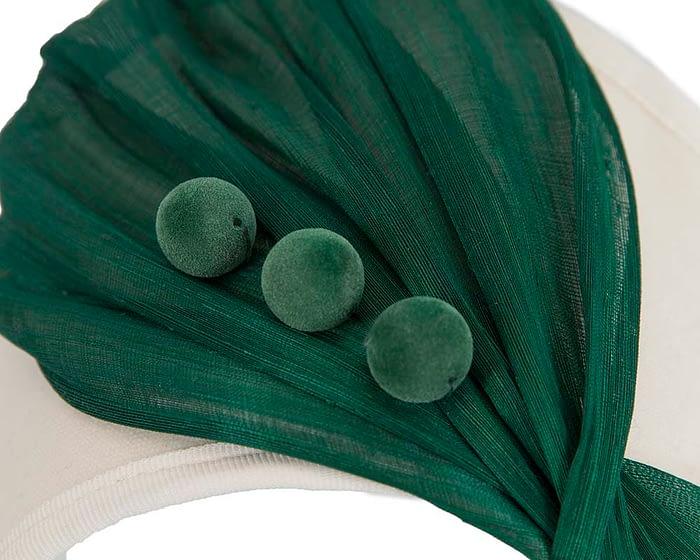 Fascinators Online - Cream & green felt crown fascinator by Fillies Collection 3