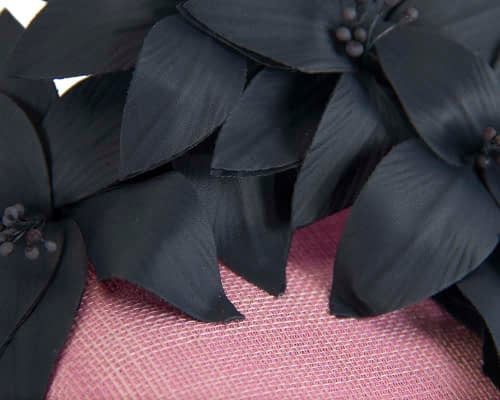 Fascinators Online - Pink & navy leather flower pillbox fascinator by Fillies Collection 4